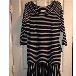 NWT 1901 Navy Stripe midi flounce dress